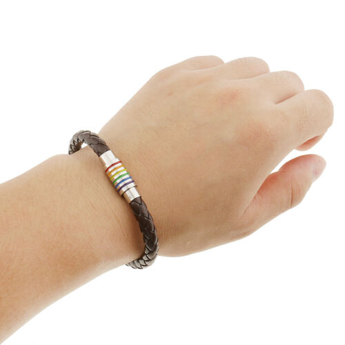 Stainless  Rainbow Magnetic Clasp Gay Pride Braided PU Leather Bracelet