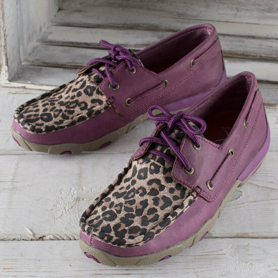 Twisted X Purple and Leopard Moccasins