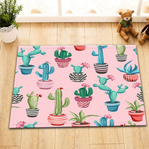 Potted Cactus /& Flowers Non-skid Kitchen Room Mat Carpet Home Floor Area Rug