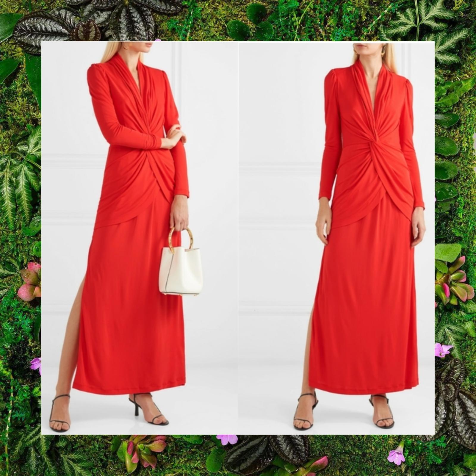 NWT DVF x NET-A-PORTER Red Stacia Long sleeve twist Maxi Dress 6 SMALL