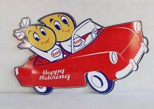 24-034-ESSO-HAPPY-MOTORING-Gas-Drop-KIDS-IN-CAR-Diecut-Sign-oil-modern-retro