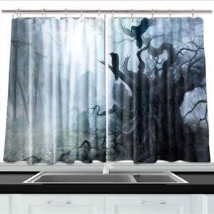 Details About Dead Tree Crow Fog Kitchen Curtains 2 Panel Set Decor Window 55 X 39