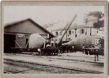 Usine Train Hunyadi Janos Roumanie France ? Vintage albumine ca 1900