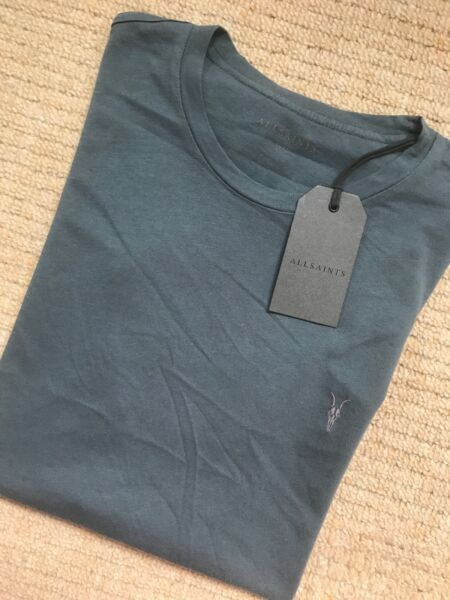 """All Saints Deep Ocean Blue """"vido Tonic"""" S/s Ras Du Cou Logo T-shirt Xs S M L Neuf Étiquettes Cool En éTé Et Chaud En Hiver"""