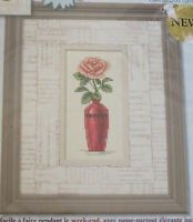 Romance Of The Rose Cross Stitch Kit Pink Vase Matted Accents 8x10 With Mat
