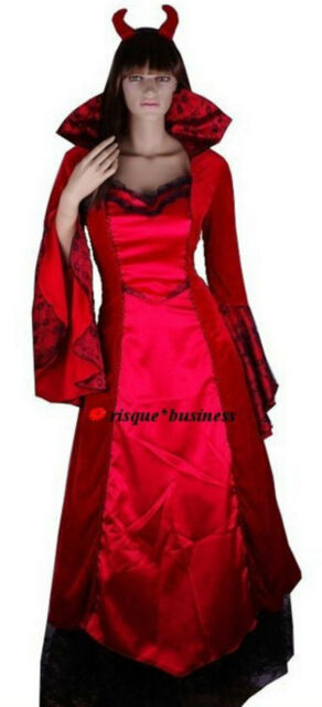 Medieval Devil Witch Vampire Red Queen Fancy Dress Costume - 12 14 16 18 20 22