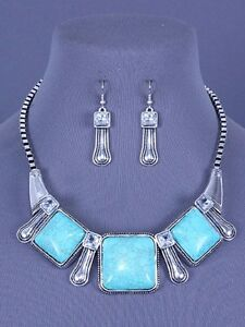 Square-Turquoise-Blue-Stones-Rhinestone-Western-Necklace-Set-Fashion-Jewelry