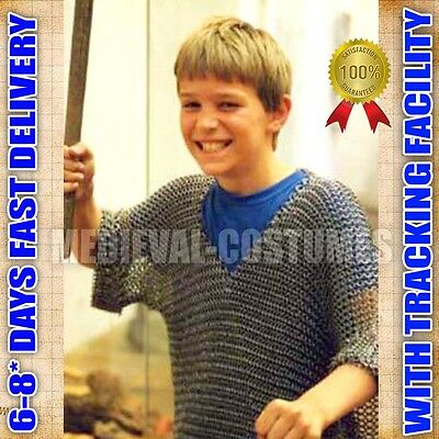 BUTTED CHAIN MAIL CHAINMAIL SHIRT BLACK CARBON STEEL FOR 10-15 YEAR CHILD LARP A