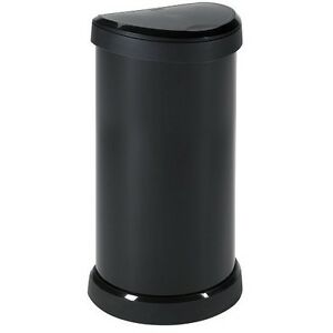Large-Waste-Bin-With-Lid-Black-Home-Indoor-40-L-Dustbin-Rubbish-Semi-Circle-Unit
