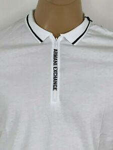 Armani-Exchange-Authentic-Signature-Zip-Logo-Polo-Shirt-White-NWT