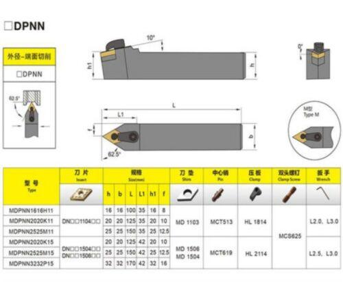 MDPNN2525M15 External Turning Tool Holder 25 x150mm for DNMG1504 Lathe