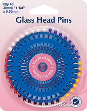 Hemline - Glass Head Pins: Nickel 30mm 40pcs