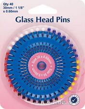 Hemline - Glass Head Pins: Nickel 30mm 40pcs