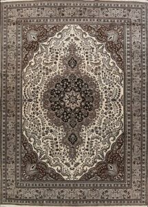 Geometric-IVORY-GRAY-Tebriz-Area-Rug-Hand-Knotted-Traditional-Wool-Carpet-10x13