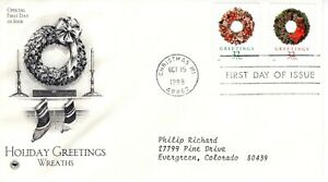 1998-COMMEMORATIVE-CHRISTMAS-HOLIDAY-TWO-STAMPS-PCS-CACHET-MACHINE-ADDRESSED-FDC