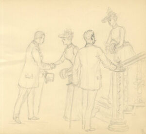 Harry B. Tansley - Late 19th Century Graphite Drawing, High Society