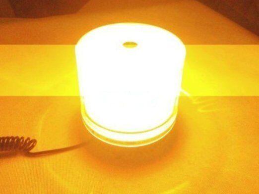 24V Emergency Flash Strobe Rotating Round LED Beacon Warning Light 9W Amber 12