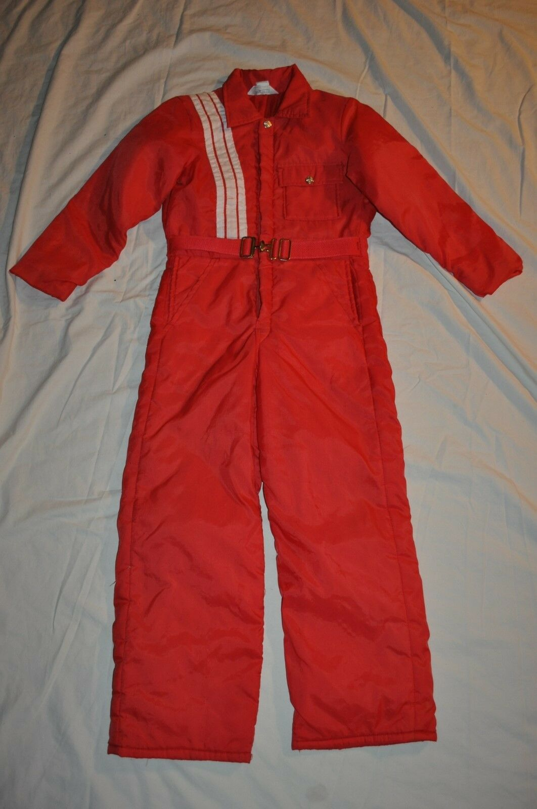 Vintage KEY IMPERIAL YOUTH 12 INSULATED ROT  SKI Weiß SNOW SKI  SUIT HUNT COVERALLS fa02b8
