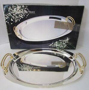 Elegance-Silver-Oval-Metal-Serving-Tray-w-Handles-18-034-x-12-034-Barware-MCM-Art-Deco