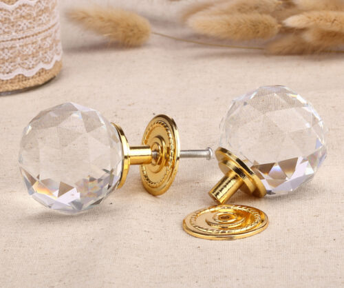 1 x 60mm Gold Faceted Door Knob Handle Drawer Home Kitchen