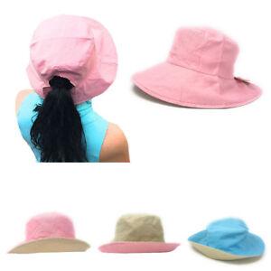 Details about Cotton Ponytail Bucket Caps Hats Reversible Summer Women s  Summer Beach Sun Hat 8e0d5960d5b