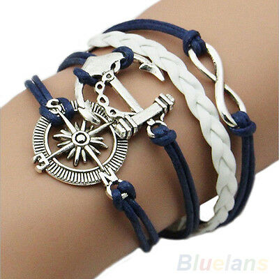 Mens Surfer Tribal Infinity Anchor Leather Cuff Wristband Punk Handmade Bracelet