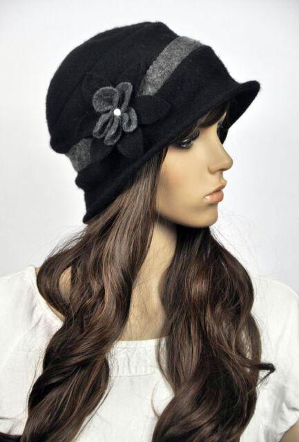 M81 Cute Contrast Color Floral Cloche Women's Beanie Brim Hat Cap 6-Colors