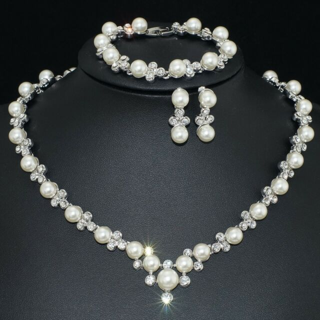 VP33 VF Clear Crystal Pearl Earrings Bracelet Necklace Set Bridal Party Gift