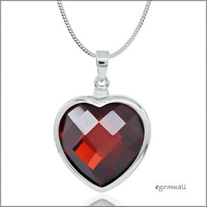 Sterling silver necklace with large garnet red cz heart pendant image is loading sterling silver necklace with large garnet red cz aloadofball Choice Image