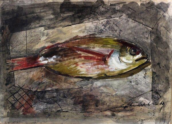 1931 | Leonard Appelbee | Rot Mullett | Englisch Master Of Existential Kunst |