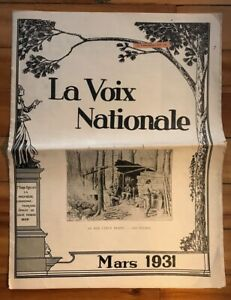 Canada-Quebec-Mars-1931-039-La-Voix-Nationale-039-French-Canadian-Newspaper