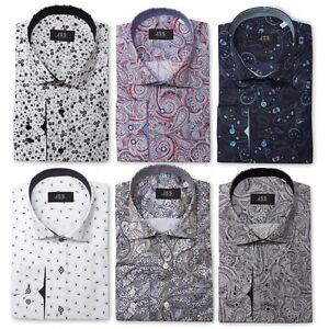 Mens-Premium-Retro-Floral-Full-Paisley-Dress-Shirt-Tailored-Vintage-MOD-S-4XL