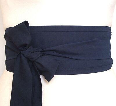 Dark Navy Blue Obi belt for kimono robe dress yukata kaftan wrap waist cincher