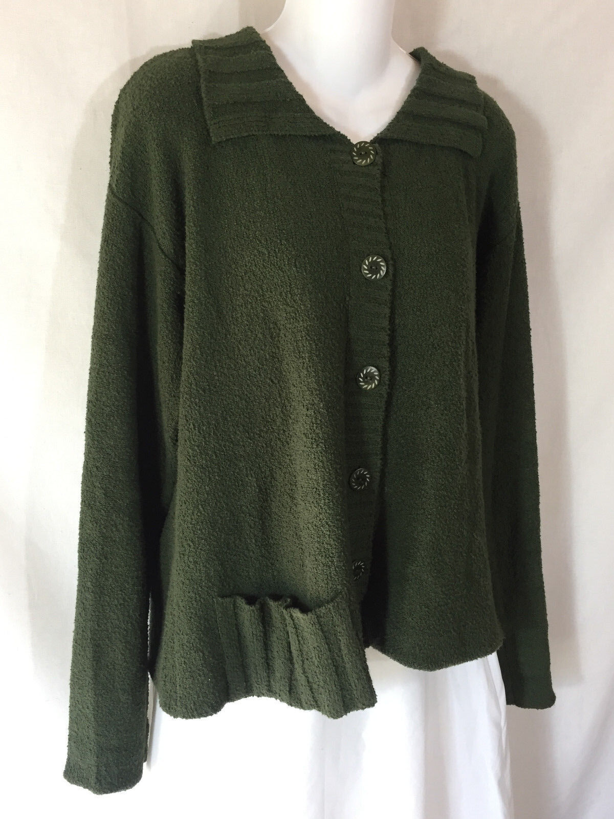 FLAX by Jeanne Engelhart Boxy Green Cotton Button Cardigan Sweater Lagenlook S M
