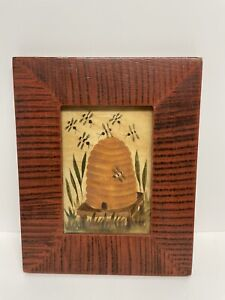 "Vintage Signed CAROLE BEHRER Hand Painted FOLK ART Framed Art ""Bee Sleep"""