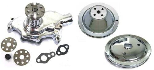 1 Groove Crankshaft Pulley Kit Small Block Chevy CHROME Short Water Pump /& 1
