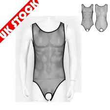 UK Men Sissy Lingerie Body Stocking Bodysuit Mesh Open Crotch Jumpsuit Nightwear