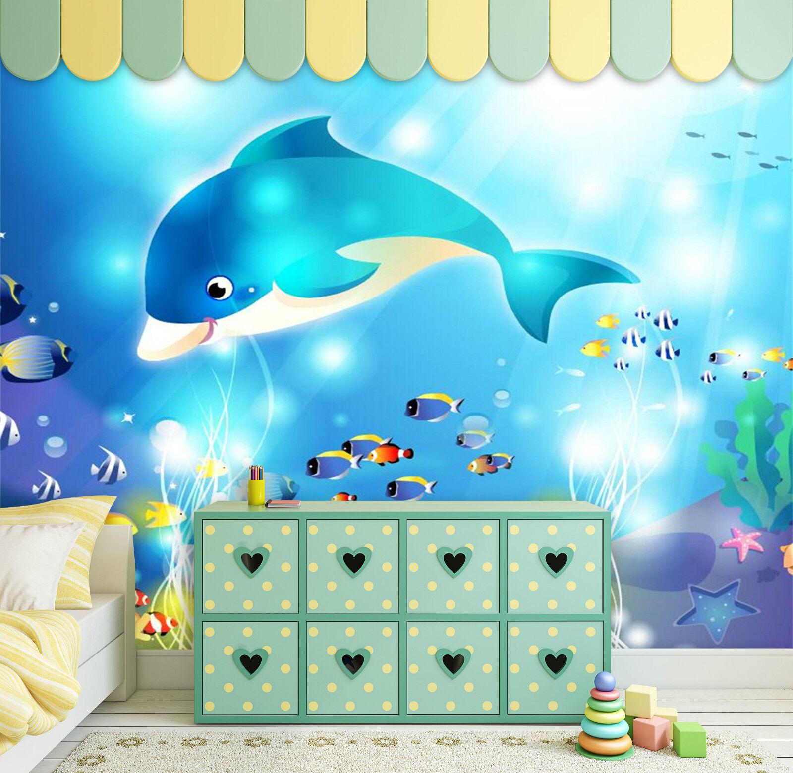 3D Blauwal 072 Fototapeten Wandbild Fototapete Bild Tapete Familie Kinder