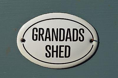 SMALL OVAL ENAMEL METAL GRANDADS SHED WALL DOOR SIGN PLAQUE DOOR SIGN GRANDPA
