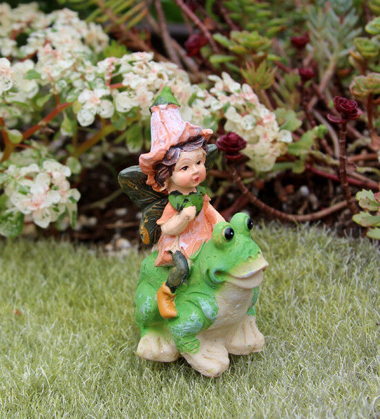 Darice 161518 Fairy Garden Figurines Mini Fairy On Frog | EBay
