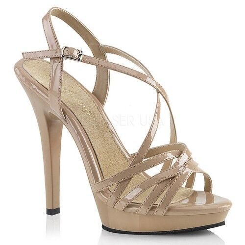 Fabulicious LIP-113 Women's Nude Nude Nude Patent High Heels Platform Criss Cross Sandals eb30fd