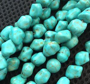 Blue-Howlite-Turquoise-Gemstone-12mm-Freeformed-Nugget-Loose-Beads-15-039-039-Strand