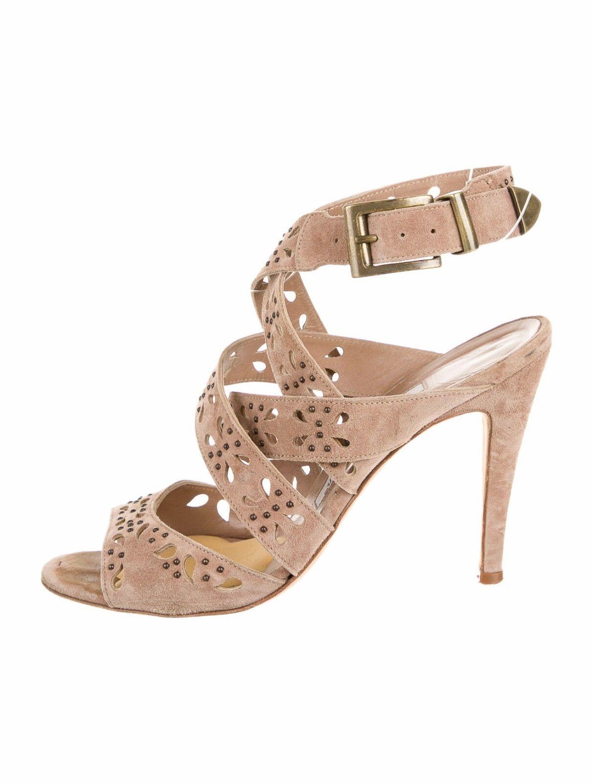 Nuevo Lezza Manolo BLAHNIK de de de gamuza marrón amarillento desnudo Sandalias Zapatos 40.5 10.5 10  en stock