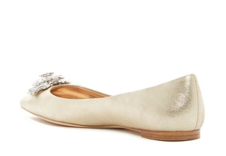 Badgley Mischka Karina Karina Mischka broche de cristal adornado de oro metálico cuero plano 7.5 527672