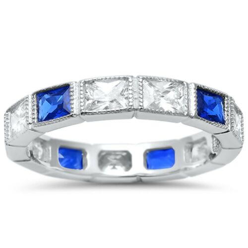 Eternity Rectangle Blue Sapphire and CZ .925 Sterling Silver Ring Sizes 4-10