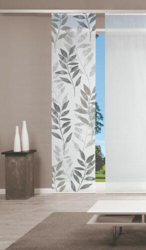 Schiebegardine halbtransparent  Blätter steingrau  60cm x 260cm  kürzbar