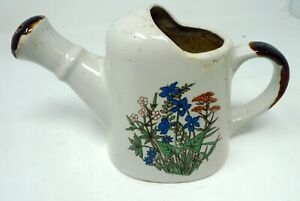 "Vintage Ceramic Teapot Planter Floral Design Brown Handle 5"" Tall Korea"