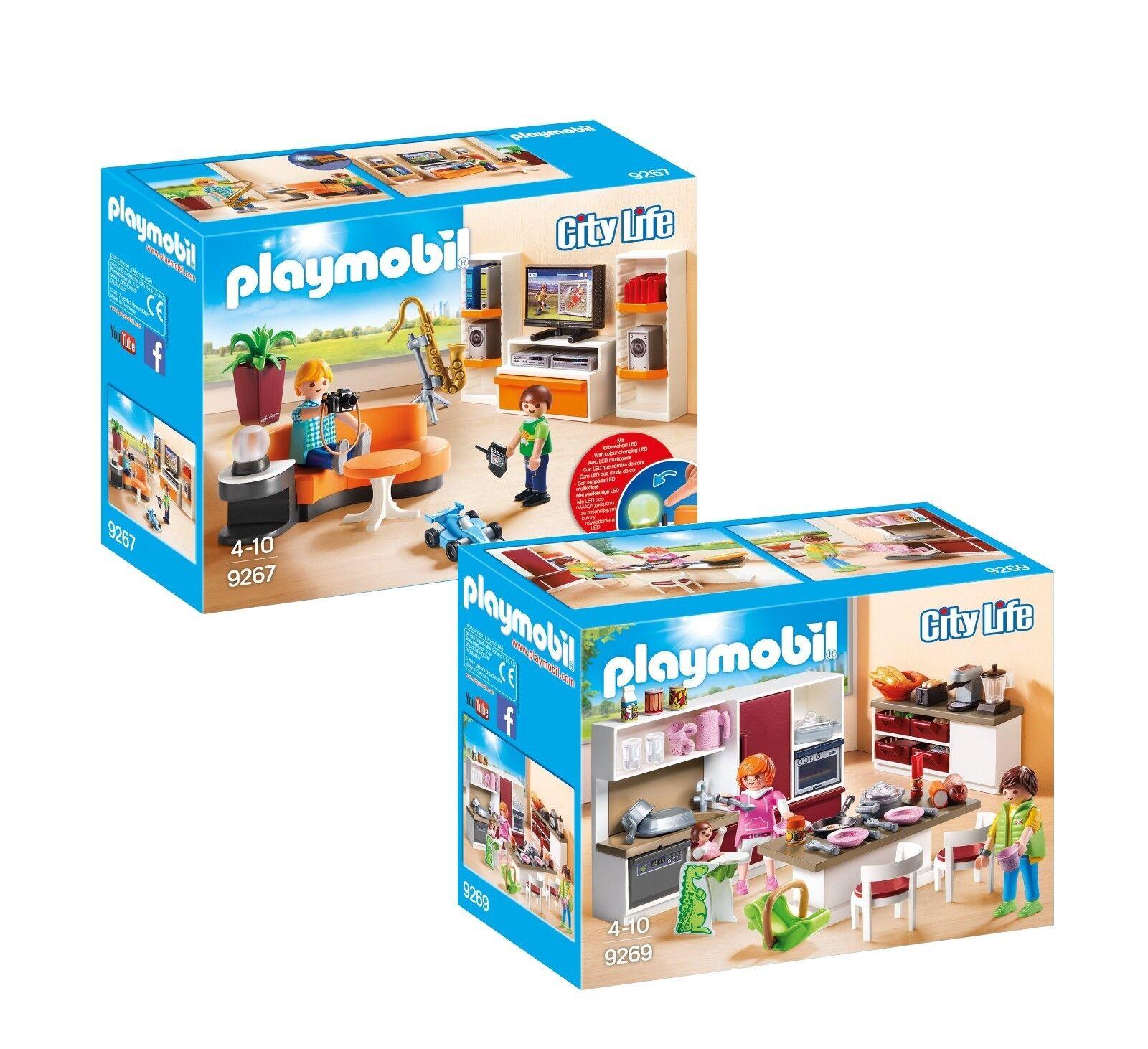 PLAYMOBIL® Modernes Wohnhaus Möbelset  9267 Wohnzimmer & 9269 Familienküche, neu