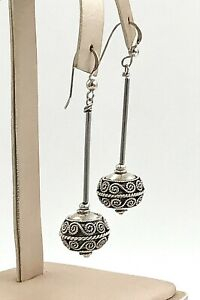 Vintage-925-Sterling-Silver-Long-Dangling-Decorative-Bead-Wire-Earrings