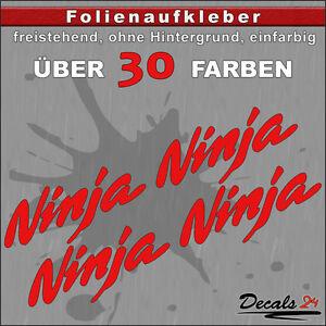 4er-SET-NINJA-Sponsoren-Folienaufkleber-Auto-Motorrad-30-Farben-8cm